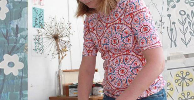 Melissa Birch teaching lino print workshops village hall