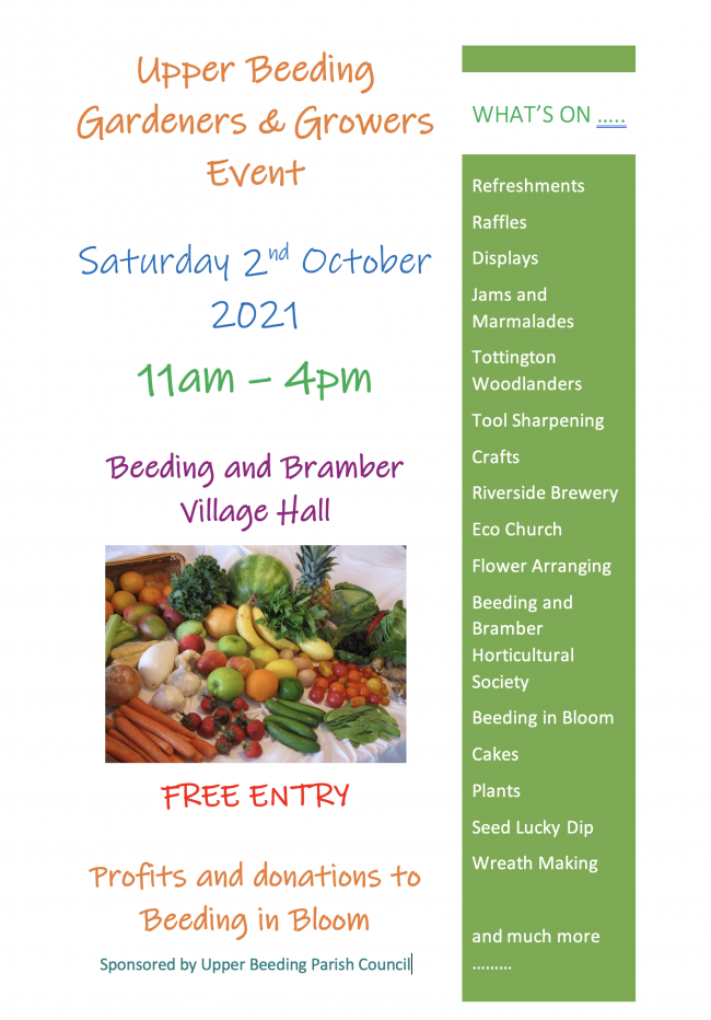 Poster for the Gardeners & Growers show in Beeding & Bramber Village Hall